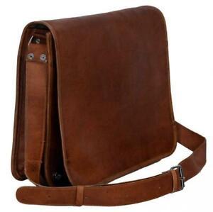 """Men's Large Messenger Brown Vintage Leather Shoulder Satchel 18"""" Laptop Bag NEW"""