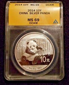 (MS- 69 DCAM) 2014 10Y CHINA PANDA 1oz..999 SLVER