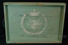 By the Cottage Door Large Green Wood Royal Bee Tray Leather Handles New