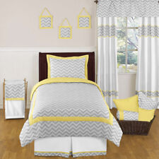 Sweet Jojo Designs Chevron Yellow Gray Twin Grey Bedding Set for a Girl Boy Kid