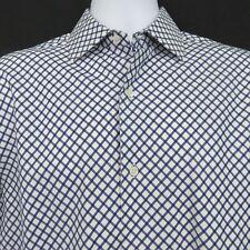 Banana Republic Navy Blue White Plaid Mens Med LS Shirt French Cuff 100% Cotton