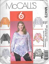 Ladies 26-32 plus size sewing pattern McCall's M4473 pullover top Uncut f/folds