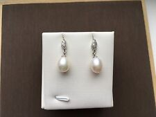 Genuine Quality High Luster White/Cream Pearl Drop 925 Silver Earrings