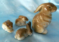 vintage Porcelain Japan Rabbit Bunny Family Figurines