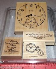 Stampin Up Sense of Time Stamp Set Vintage Clock Double Face Gears Love Hope