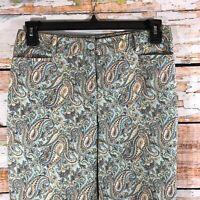 "Talbots Cotton Paisley Print Blue Cropped Capri Pants Size 6 Inseam 25"""