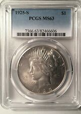 1925-S Peace Dollar === PCGS  MS-63   ===   NICE WHITE COIN  !
