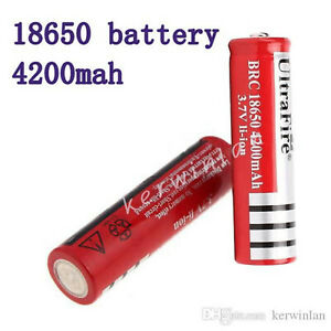 ultrfire 4200mAh 3.7V Li-ion Rechargeable Battery for LED Flashlight Red (2x)