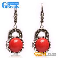 Fashion Pretty 16mm Coin Beads Tibetan Silver Dangle Earrings for Chritmas Gift