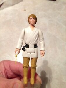 Vintage Star Wars Farm Boy Luke Skywalker rare brown hair figure HK 1977