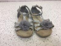Girls Sliver Sparkly Glitter Party Sandals Flower Detail Size 9 Infant Primark