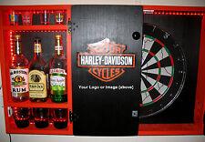 Harley Davidson Dartboard Liquor Cabinet Custom Logo Image Man Cave Dart Board
