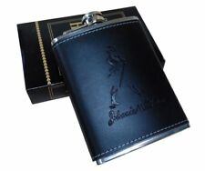 Stainless Steel And Stitched Leather Hip Flask 8 Oz (230 Ml), Johnnie Walker