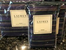 Ralph Lauren Studio Stripe Purple King Duvet W/ 3 European Shams