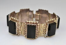 "Link 6.75"" Bracelet 49.7 Grams Vintage Mexican Sterling Silver Onyx Rectangular"