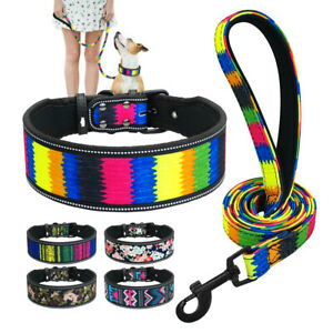4/5cm Reflective Dog Wide Collar and Lead Soft Padded Medium Large Dogs Pitbull