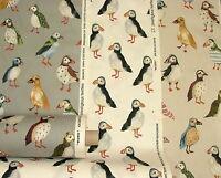Puffin Pájaros Costera Náutico Costa Tema Cortina de Algodón Tela para Tapizar