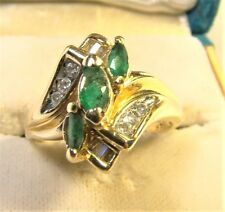 Vintage 14 K Yellow Gold Marquis Emerald & Diamond Bypass Cocktail Ring Sz 5