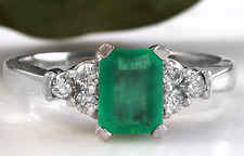 2.80Ct Natural Emerald & Diamond 14K Solid White Gold Ring