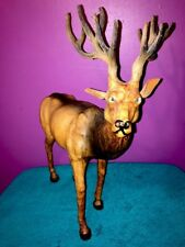 Deer Figure Leather Wrapped Stag Buck Elk Statue Taxidermy Hunt Antler Man Cave