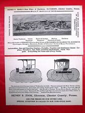 Ad Postcard PA Elverson Chester Co Henry Zook Engines Wagons Farm Livery Buggies
