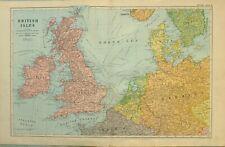 1922 Carte Îles Britanniques Pays-Bas Belgique Danemark Angleterre Écosse Galles