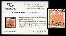 Lombardo-Veneto, 15 cent, rosso vermiglio, carta a mano, tipo II  (Sass. n. 4)