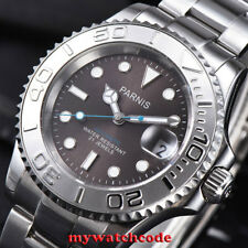 41mm Parnis gray dial Ceramic bezel 21 jewels miyota 8215 automatic mens watch