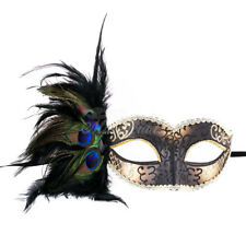 Black/Gold Women Party Mask Masquerade Mask with Gems & Peacock Feathers
