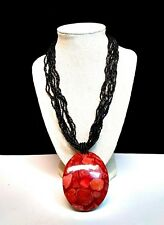 Red Fossilized Coconut Shell Statement Necklace