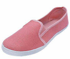 LADIES PINK CANVAS FLAT SLIP-ON PLIMSOLL PUMPS COMFY CASUAL SHOES SIZES 3-8