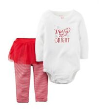 NWT Infant Girls Carter's Christmas Outfit 6m Merry & Bright 2pc NEW Red Stripes