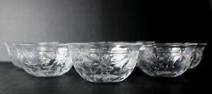 8pc set Hawkes Cut crystal Fruit Bowls, fine intaglio florals