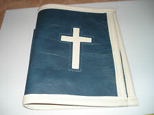 Vintage Antique 1960's Handmade Medium Blue with White Cross, Vinyl BIBLE Cover