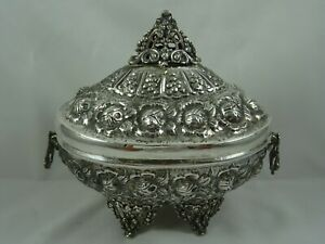 LARGE solid silver SUGAR BOX, c1960, 631gm