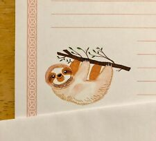 Sloth Stationery Writing Set 12 Sheets 6 Envelopes - Lined Stationary