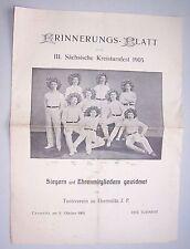 Erinnerungs Blatt sächsisches Kreisturnfest 1905 vom Turnverein Chemnitz ! (D)