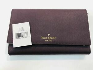 Kate Spade New York Mikas Pond Phoenix Trifold Leather Wallet - Mahogany - NWT