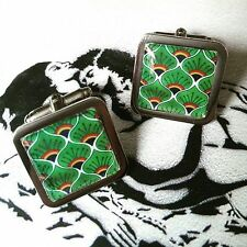 Unique! Moroccan PEACOCK FEATHER DESIGN CUFFLINKS chrome GREEN resin 70's 60's