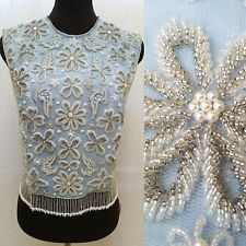 Vintage 1960's SAMMY WONG HAND BEADED TOP - Blue Silver - Size XS/Small