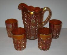 Vintage Octagon Pattern Gold Carnival Glass Pitcher & 4 Glasses FREE SHIPPING
