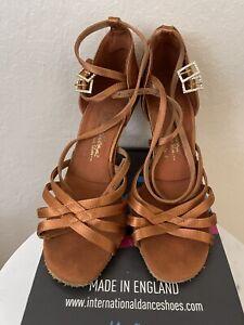 "International Dance Shoes Style Emily 3"" Elite Heel 5UK Reg$159. Tan Satin 7.5"