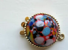 #603K Vintage Clasp RED One Strand Bracelet Necklace 1 Strand Floral NOS Mosaic