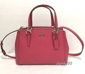 New COACH F57523 Leather MINI Christie Carryall Crossby Handbag Strawberry