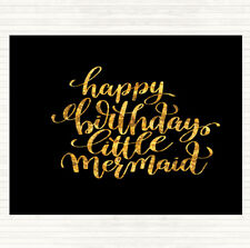 Black Gold Birthday Mermaid Quote Mouse Mat Pad