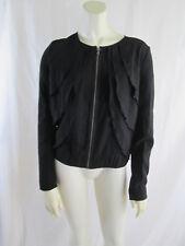 Gap BOHO Festival Chiffon Ruffle Zip Front Jacket Coat Blazer Black Sz S NWT $80