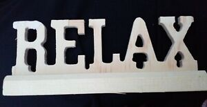 Unfinished Wooden RELAX Sign Letters Farmhouse Craft Wedding Shower Wood Party