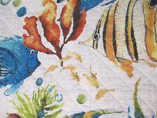 LYRA REEF Cotton Tropical Coastal Beach Fish White Blue Green Quilt - Full/Queen