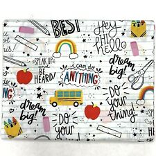 Back To School - 1 Yard - Crayons Bus Rainbow Teacher Student Mask Quilt Fabric