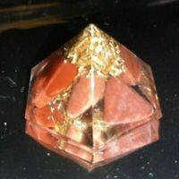 Piramide ORGONITE 1 CHAKRA DIASPRO ROSSO Energia Quarzo orgone tower buster yoga